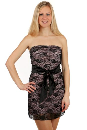 Glara Krajkové mini šaty bez ramínek 116114