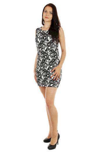 Glara Vzorované šaty s krajkou 53919