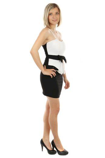 Glara Mini šaty s mašlí a volánkem 56504