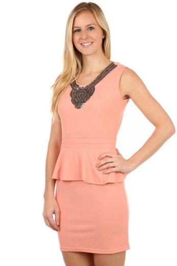 Glara Krátké elegantní šaty s volánem 97719