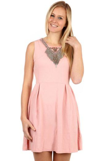 Glara Krátké dámské áčkové šaty s aplikací 97782