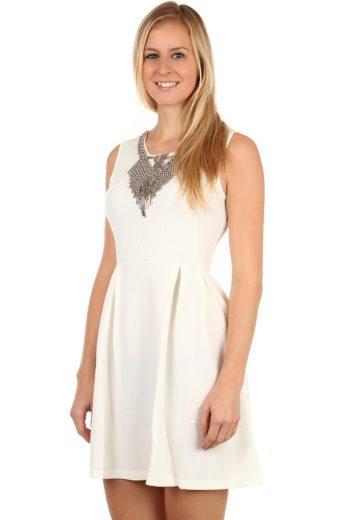 Glara Krátké dámské áčkové šaty s aplikací 97790