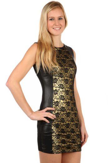 Glara Krátké černo-zlaté dámské šaty bez rukávů 97824
