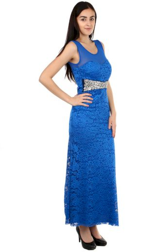 Glara Dlouhé plesové šaty s krajkou 105268