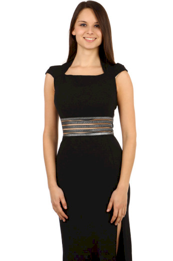 Glara Elegantní dlouhé společenské šaty na ples 100036