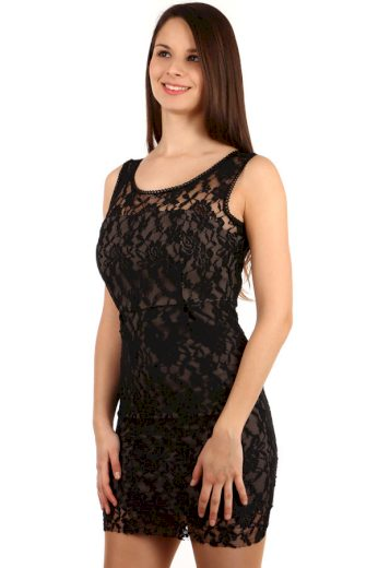 Glara Krátké dámské večerní šaty s krajkou na ples 112480
