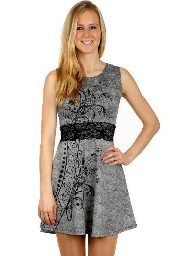 Glara Krátké šaty s ornamentem a krajkou 122856