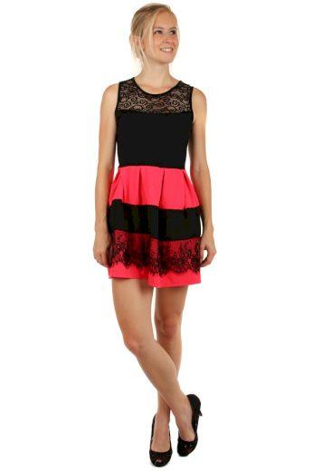 Glara Dvoubarevné krátké šaty s krajkou 146873