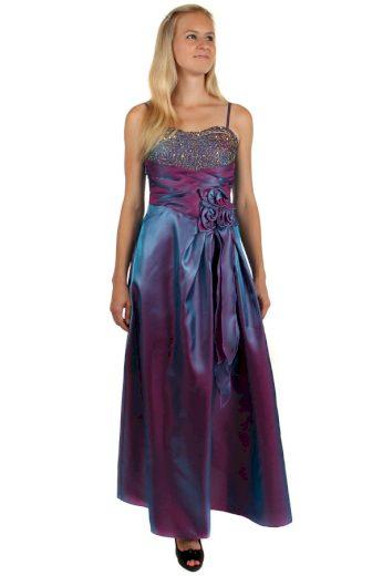 Glara Dlouhé lesklé večerní šaty se zlatou výšivkou 150187