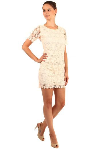 Glara Dvouvrstvé krajkové šaty s krátkým rukávem 164073
