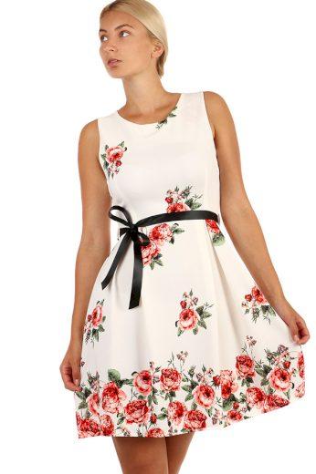 Glara Romantické šaty áčkového střihu s potiskem a stuhou 241848
