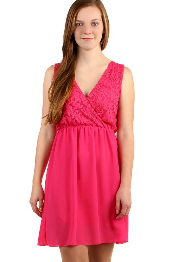 Glara Krátké šifonové šaty s krajkou 269264