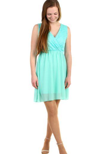 Glara Krátké šifonové šaty s krajkou 269268