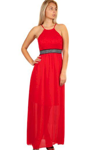 Glara Dlouhé šifonové šaty s krajkou na ples s úzkými ramínky 282794