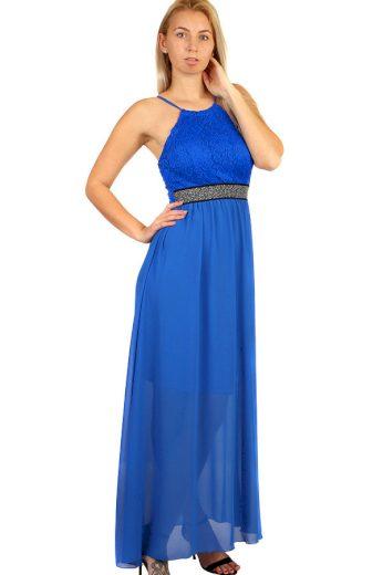 Glara Dlouhé šifonové šaty s krajkou na ples s úzkými ramínky 282796