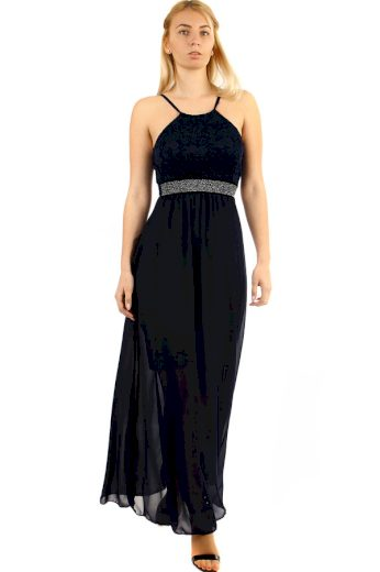 Glara Dlouhé šifonové šaty s krajkou na ples s úzkými ramínky 282798