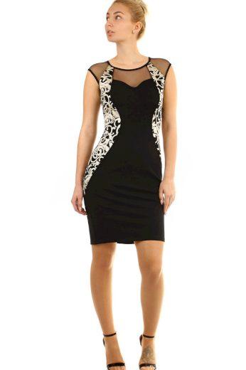 Glara Přiléhavé černé šaty se vzorem 289231