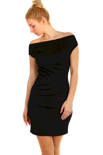 Glara Třpytivé večerní krátké šaty s širokými ramínky 296002