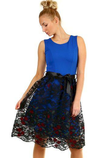 Glara Dámské společenské šaty s krajkovou sukní 358649