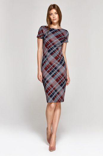 Glara Pouzdrové šaty s kostkovaným vzorem 401864