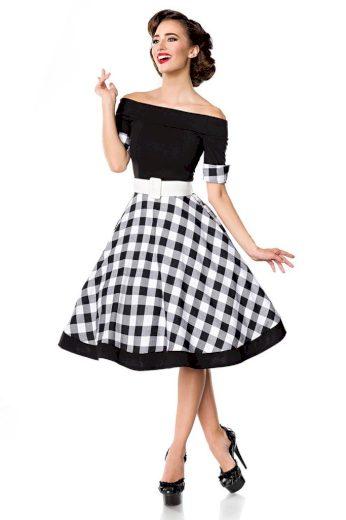 Glara Retro šaty s kostkovanou sukní 402808