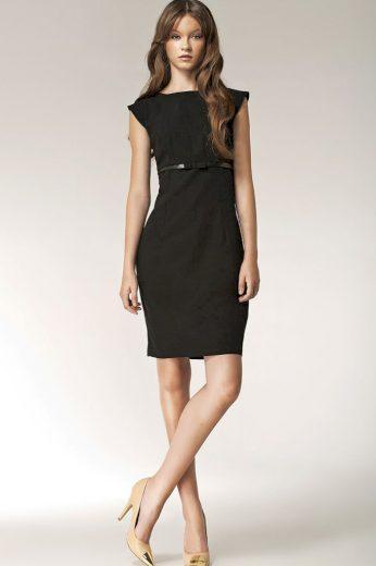 Glara Dámské šaty s aplikací pásku 418103