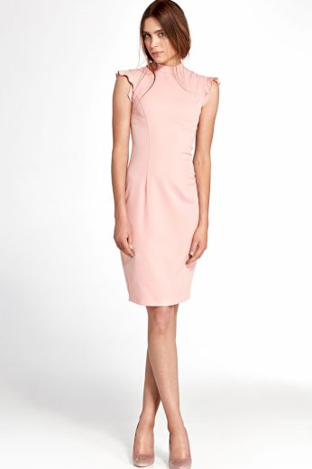 Glara Společenské šaty s volánovými rukávy 418207