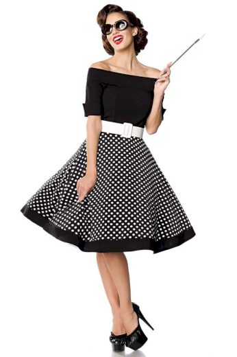 Glara Retro šaty s puntíky 424012