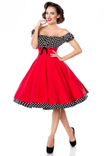 Glara Vintage dámské šaty s Carmen výstřihem 424058