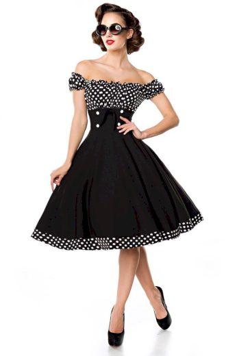 Glara Vintage dámské šaty s Carmen výstřihem 424084