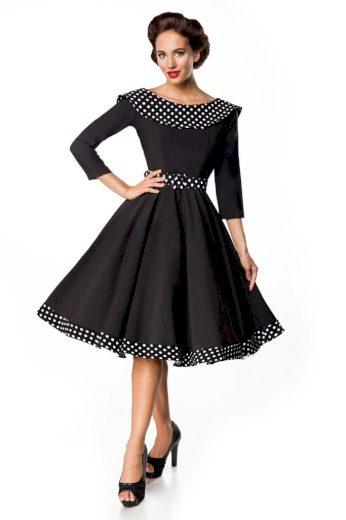 Glara Retro společenské dámské šaty s 3/4 rukávy a límcem 425909