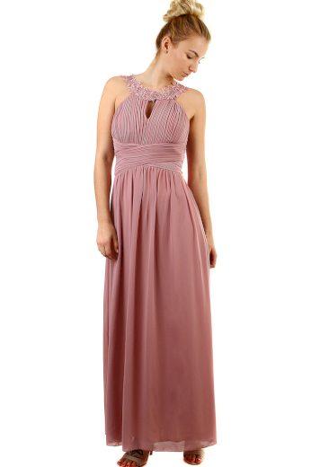 Glara Plesové dlouhé šaty s výšivkou a korálky 426102