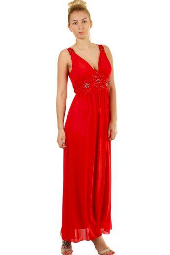 Glara Dlouhé společenské šaty s výšivkou a korálky 426141