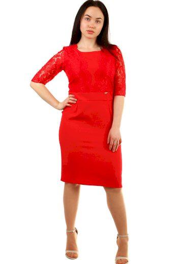 Glara Společenské dámské šaty s krajkou i pro plnoštíhlé 432416