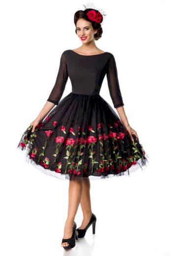 Glara Dámské luxusní společenské šaty s výšivkou růží 468699