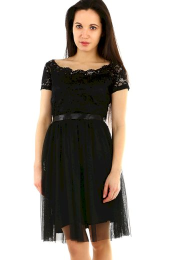 Glara Společenské dámské šaty s krajkou 469683