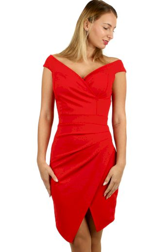 Glara Krátké společenské šaty s odhalenými rameny 495326