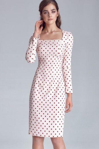 Glara Puntíkované pouzdrové šaty s dlouhým rukávem 490804