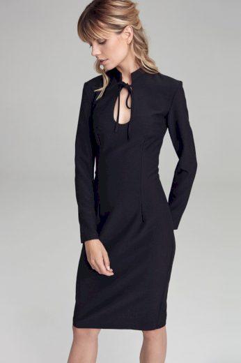 Glara Jednobarevné pouzdrové šaty se stojáčkem 511076