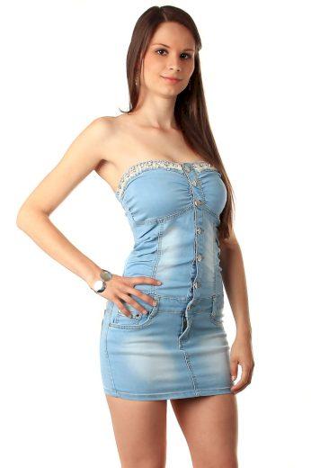 Glara Krátké jeans šaty bez ramínek 10529