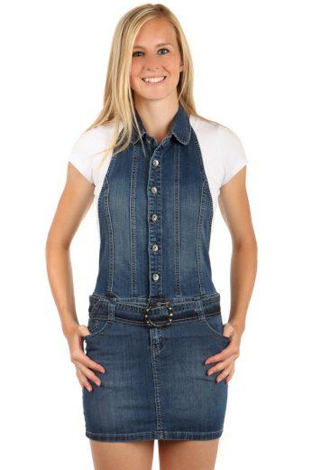 Glara Dámské jeans šaty s laclem 68883