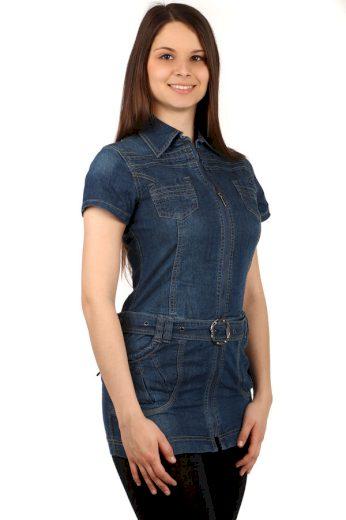 Glara Dámské jeans krátké šaty s krátkým rukávem 132325