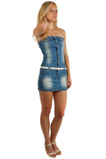 Glara Krátké riflové propínací šaty bez ramínek 148402