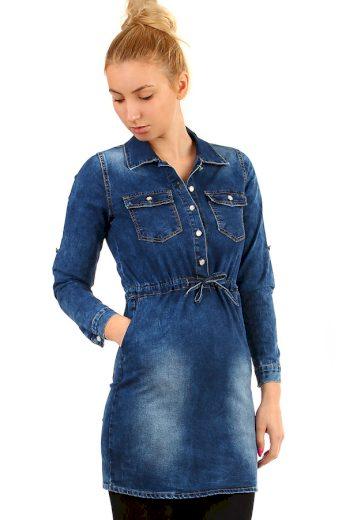Glara Krátké džínové podzimní šaty s tříčtvrtečním rukávem 294723