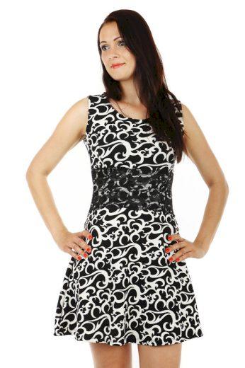 Glara Krátké áčkové vzorované šaty s krajkou 53904