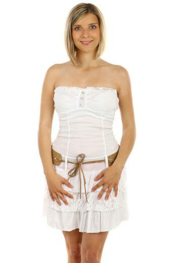 Glara Krátké bílé šaty bez ramínek 55366