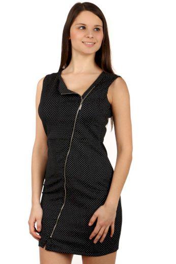 Glara Dámské krátké puntíkované šaty se zipem a širokými ramínky 116074