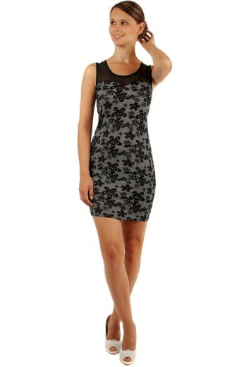 Glara Květované šaty s úzkým páskem 155196