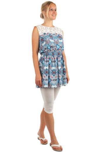Glara Mini šaty s ornamenty a krajkovými rameny 159675