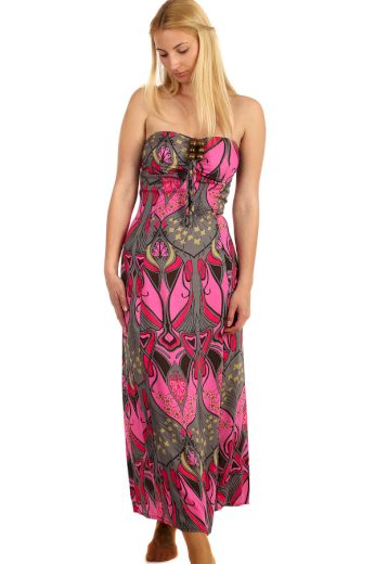 Glara Dlouhé vzorované šaty se zavazováním za krk 216383